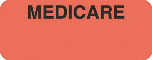 Communication Label Fl Red/Blk Medicare