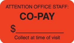 Communication Label Fl Red/Bk Attention Office Staff