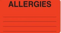 Communication Label Fl Red/Bk Allergies