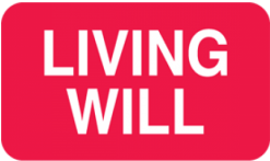 Communication Label Red/White Living Will