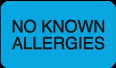 Communication Label Lt Blue/Bk No Known Allergies