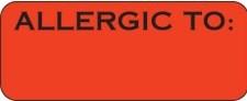 Communication Label Fl Red/Blk Allergic To
