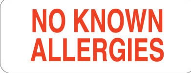 Communication Label Wht/Red No Known Allergies