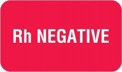 Communication Label Red/White Rh Negative