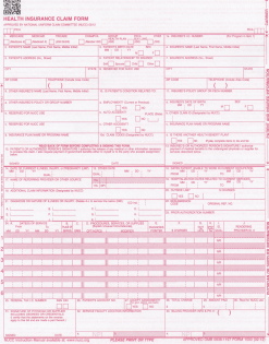 one part Laser CMS1500 form