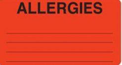 Communication Label Fl Red/Bk Allergies